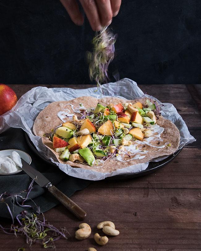 Easy vegan wrap with nectarine and cashews