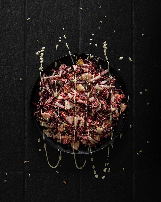 Raw kohlrabi salad