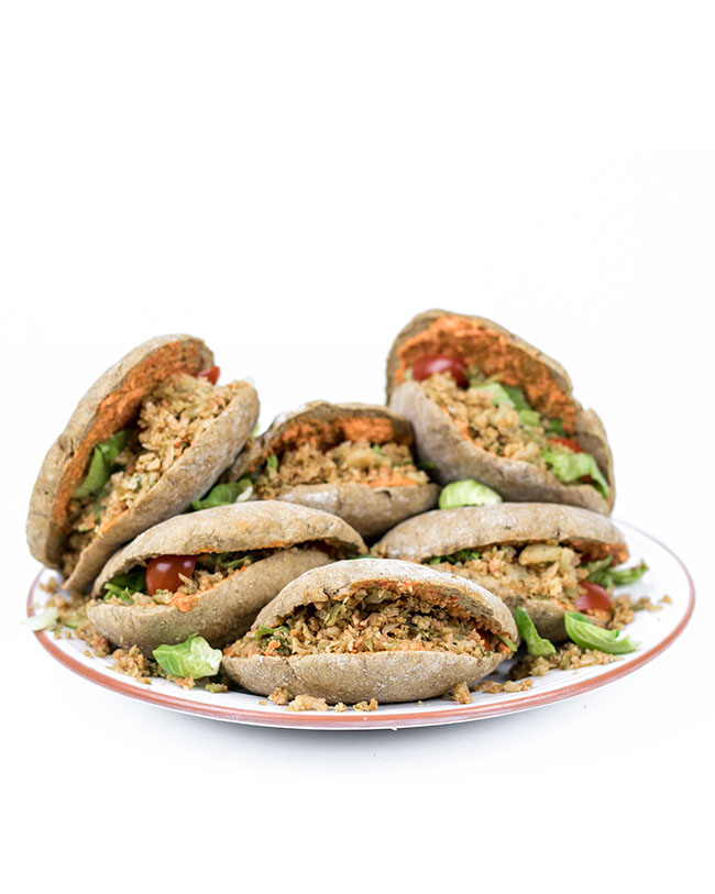 Stuffed pitas with Brussels sprouts