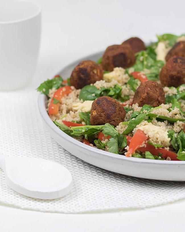 Vegan lentil meatballs with couscous salad