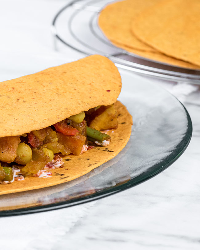 Vegetarian roti recipe with wraps
